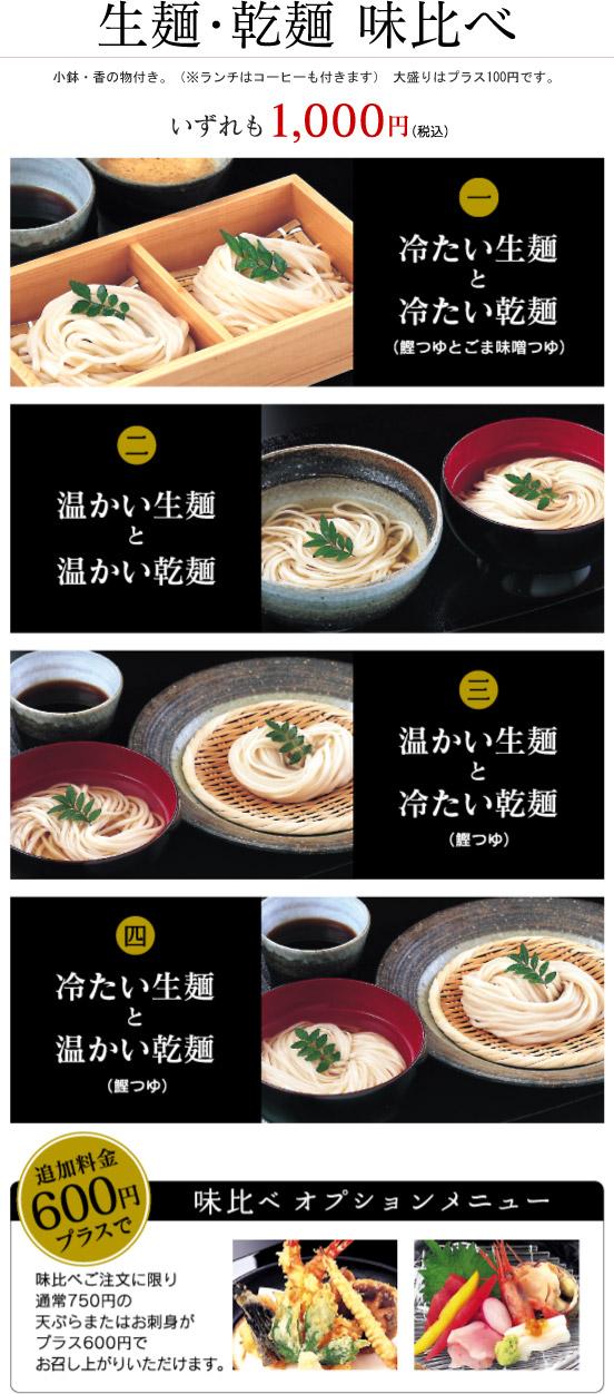 生麺・乾麺 味比べ 小鉢・香の物付き。(※ランチはコーヒーも付きます) 大盛りはプラス100円です。 いずれも1,000円(税込) 1.冷たい生麺と冷たい乾麺(鰹つゆとごま味噌つゆ) 2.温かい生麺と温かい乾麺 3.温かい生麺と冷たい乾麺(鰹つゆ) 4.冷たい生麺と温かい乾麺(鰹つゆ) 追加料金600円プラスで味比べご注文に限り通常750円の天ぷらまたはお刺身がプラス600円でお召し上がりいただけます。