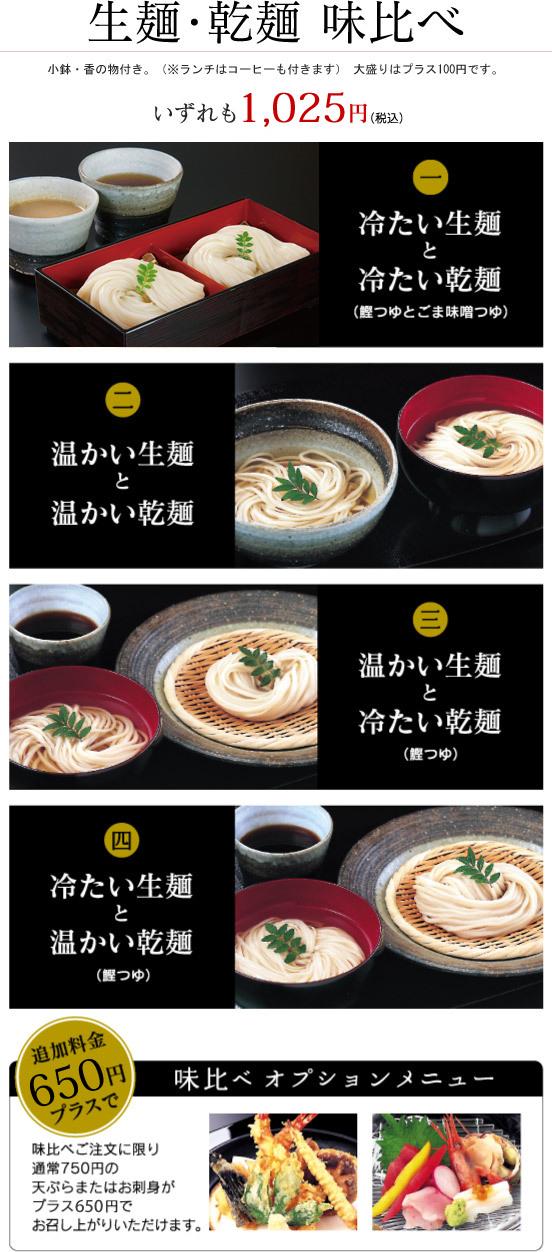 生麺・乾麺 味比べ 小鉢・香の物付き。(※ランチはコーヒーも付きます) 大盛りはプラス100円です。 いずれも1,025円(税込) 1.冷たい生麺と冷たい乾麺(鰹つゆとごま味噌つゆ) 2.温かい生麺と温かい乾麺 3.温かい生麺と冷たい乾麺(鰹つゆ) 4.冷たい生麺と温かい乾麺(鰹つゆ) 追加料金650円プラスで味比べご注文に限り通常750円の天ぷらまたはお刺身がプラス650円でお召し上がりいただけます。