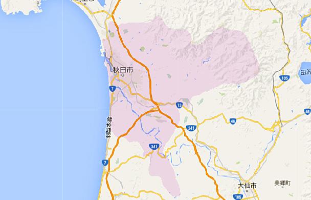 地図画像:お届け可能エリア